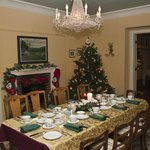  Dining Room set for Guests Christmas Dinner.
