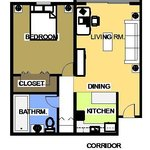 Floor Plan 1 Bedroom Apartment