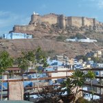 The spectacular view of Mehrangarh Fort from the rooftop restaurant