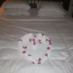 decoration on our bed at hotel