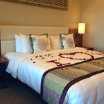 Rose petals on our bed, nice touch for our anniversary