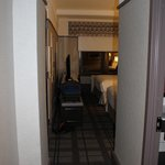 view of room from door - bathroom is on the right