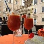 Blood orange juice in the square outside - lovely
