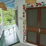 Porch that surrounds room--views of Pitons and ocean