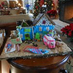 Gingerbread house in lobby over Christmas
