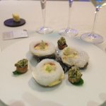 Belon Oyster 00 with verjuice zabaglione cream and oyster tartare blinis