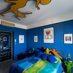 Keith Haring Room - bed and ceiling light