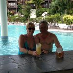  At the swim-up pool bar