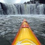  Approaching Haruru Falls from nearby campground/beach (Kayak in image was not supplied by the mo