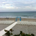 Set-up for the wedding ceremony on the Seabonay Beach