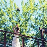 Bride tossing her boquet