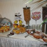 Breakfast buffet with lots of choices. Pastries were fresh. Try the small omelet with ham & chee
