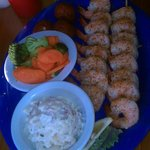 Jerked Shrimp Dinner with 2 sides Baked Potato Salad &