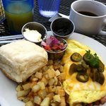  Made to order omelette, home fries and a huge biscuit, side of pico de gallo