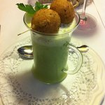 wild garlic soup + fried risotto ball