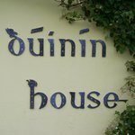 Duinin House in Celtic script on ceramic tile