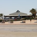  dive center and fish restaurant during low tide