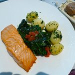 Salmon with potato and spinach