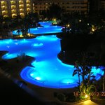  view of the outdoor pools from the balcony of my room