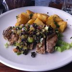 seared tuna, tapenade and sautéed potatoes
