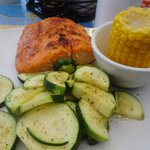 Broiled salmon, corn and steamed zucchini