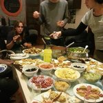 there was a french dinner party in the hostel