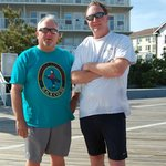 on the boardwalk with the commander behind
