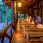  The side porch of the main Lodge at Rainbow Trout.