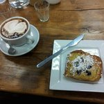 Slice of Bostock with a cappuccino - a breakfast treat!