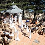 Gazebo wedding on patio