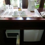 complimentary water for 2, coffee & tea maker,mini fridge and safety box