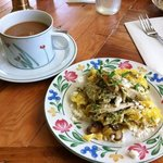 Roasted chicken pesto scramble