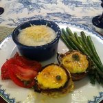  Egg Cups with Lemon Caper Sauce, Parmesan Grits, ...