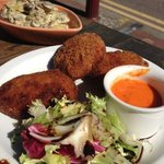 Ham croquette and creamy mushroom and potato mix