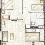 Floor Plan accessible two bedroom apartment.