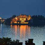view of Isola Bella at night from our room.