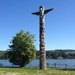 Totem pole carved from. 720 year old cedar.