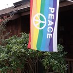 Soundview's rainbow peace flag welcomes gay couples.