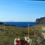 looking at The Outer Hebrides throuugh the dining room window at breakfast.