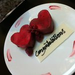  Heart-shaped mousse. complimentary from the hotel