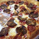pepperoni and meatball (sliced) pizza, large.