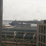 View from our room as we watch a navy ship pass by.