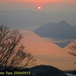  Beautiful sunrise over Lake Toya seen from our room