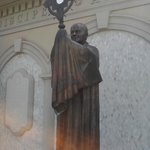 I was THRILLED to see this statue of Pope John Paul II with the Blessed Sacrament!!