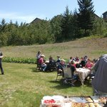 Behind the winery, bottling volunteers/staff lunch