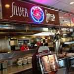 At the counter of the Silver Diner!