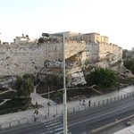 view of old city walls from the roof terrace