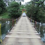 The suspension Bridge leading to the Hostal La Isla