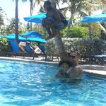  My husband and kids at the pool