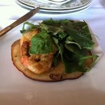 Curried Shrimp , rice pancake with Miner's lettuce